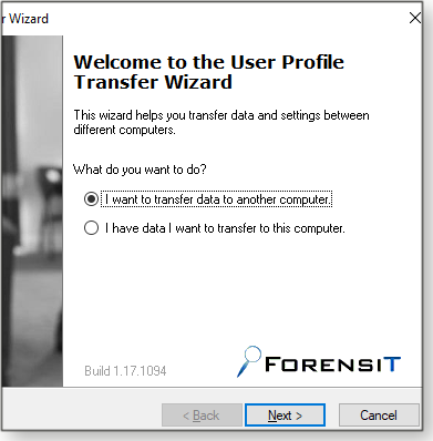 Initial transfer wizard screen