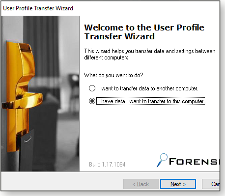 Transfer wizard screen
