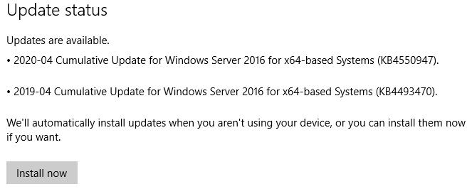 KB4550947 Update on Svr 2016 std