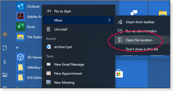 Open file location option