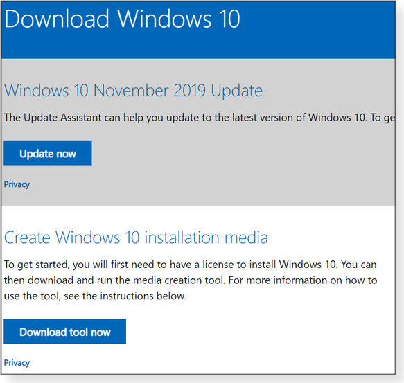 Download Windows 10 page