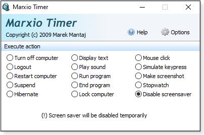 Disable screensaver