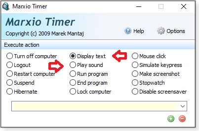 Play sound and Display text options
