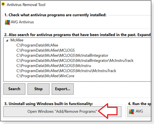 Use the Windows Add/Remove Programs tool
