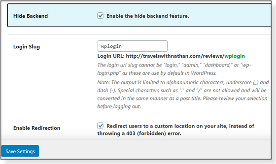 Hide Backend settings