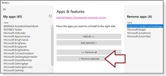 Remove selected option