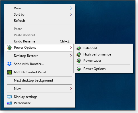 Power Options in the desktop context menu
