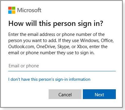 Windows account setup window