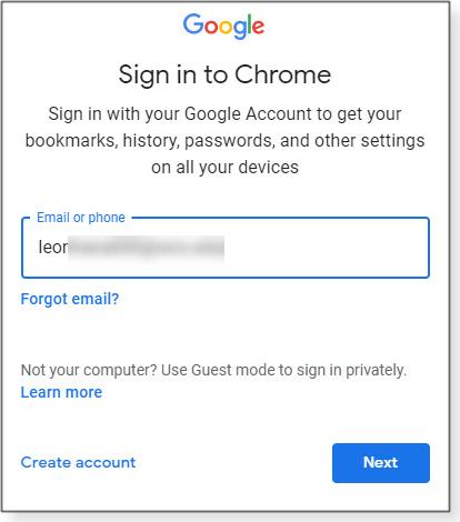 Google sign-in dialog box