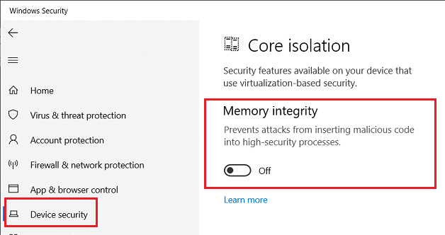 Win-10-v1909-Pro-Core-Isolation-Memory-Integrity-Off-08-Aug-2020