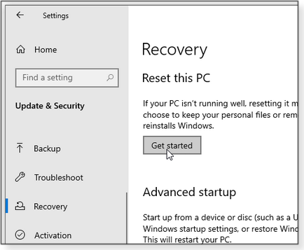 Access the Reset options