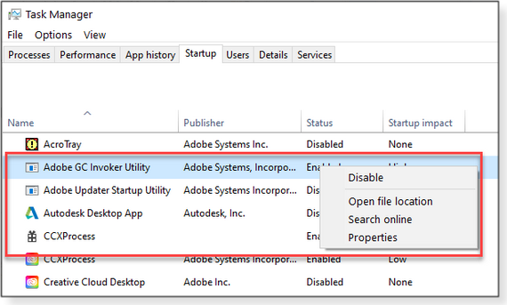 Enable/disable startup