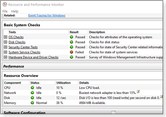 Resource and Performance Monitor first run