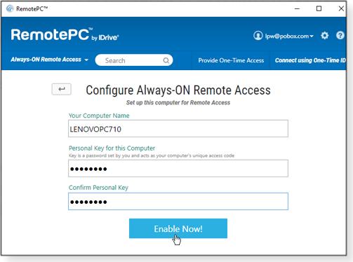 RemotePC setup