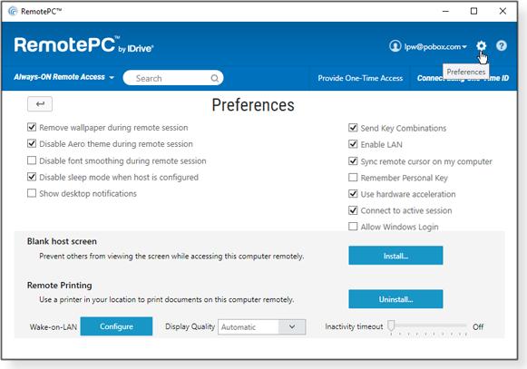 Preferences window