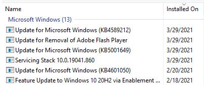 Installed-updates