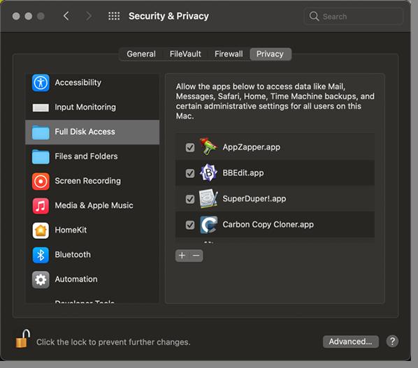 Full Disk Access dialog