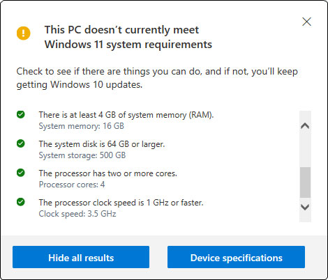 PC Health Check displays passed tests, too