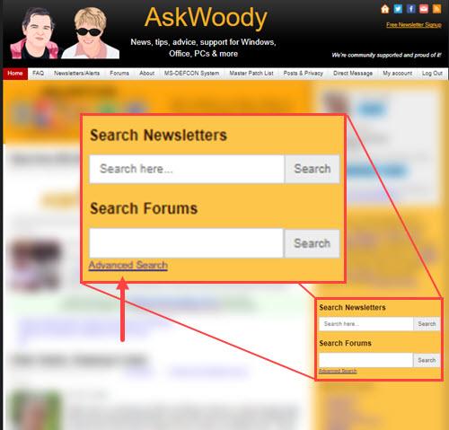 AskWoody website search tools