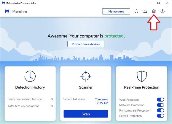 Malwarebytes click gear