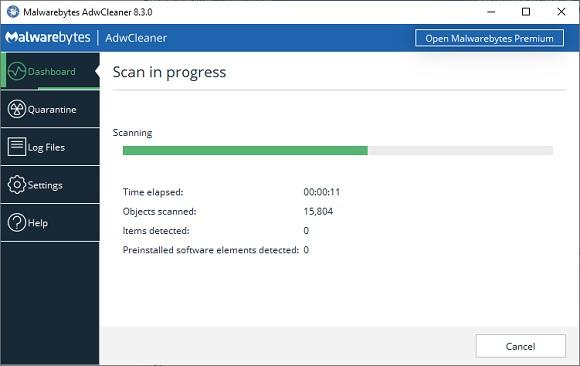 AdwCleaner doing it's scan