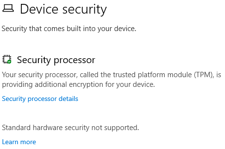Device Security - not up to standard