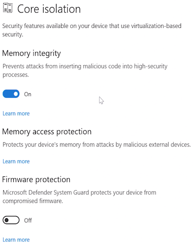 Device Security - Core isolation