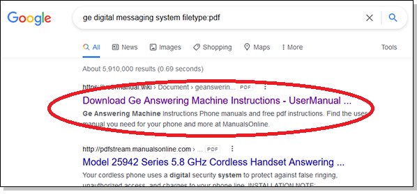 Google's first search result leads to a suspicious site