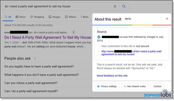 Google's first result appears legit but leads to an infected website