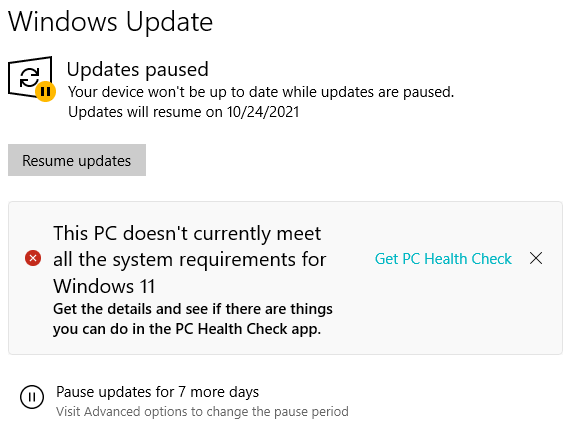 This PC doesn't currently meet all the system requirements for Windows 11