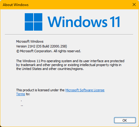 Windows 11 Version 21H2 (OS Build 22000.258)