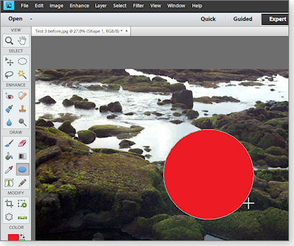 Wrong circle in Photoshop Elements