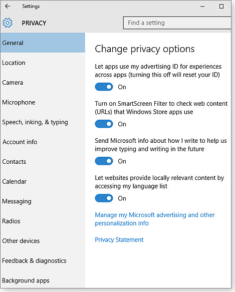 Win10 privacy options