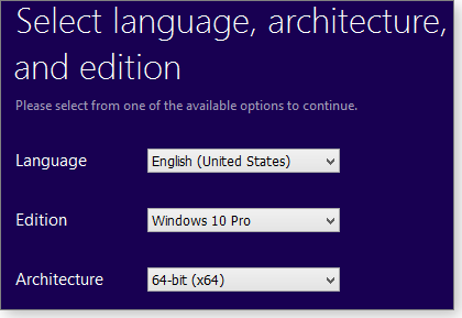 Select language and Win10 version